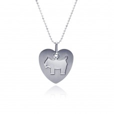 Stainless Steel Big Dog Heart Charm Pendant ssp00076