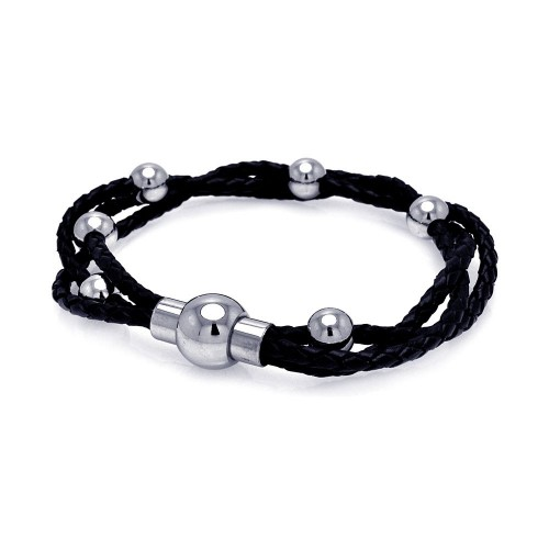Wholesale Stainless Steel Multiple Leather Strand and Bead Bangle Lock Bracelet - SLB00003