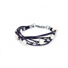 **Closeout** Stainless Steel Purple Cord Pearl Bracelet - SLB00008