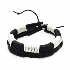 Stainless Steel Black and White Leather Bracelet - SLB00010
