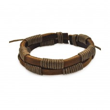 Stainless Steel Brown Leather Bracelet - SLB00013