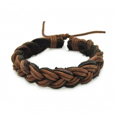 Stainless Steel Black and Brown Braided Leather Bracelet - SLB00014