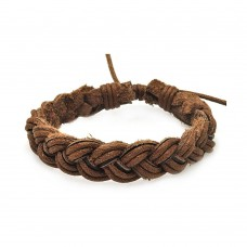 Stainless Steel Brown Leather Braided Bracelet - SLB00015