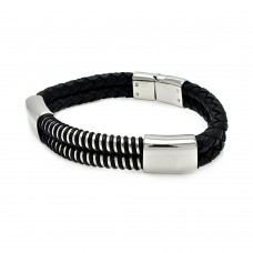 Wholesale Stainless Steel Black Leather Bracelet - SLB00018