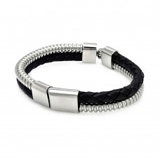 Wholesale Stainless Steel Black Leather Bracelet - SLB00020