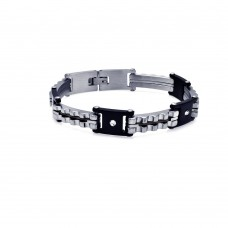 Wholesale Stainless Steel Round Clear CZ Cable Bracelet - SSB00015