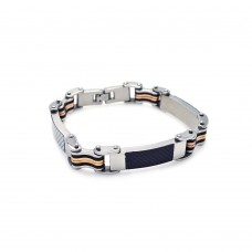 Wholesale Stainless Three Toned Steel with Black and White Carbon Fiber Bracelet - SSB00026