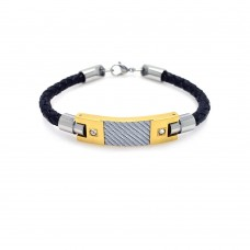 Wholesale Stainless Steel Two Toned CZ Bracelet Plated with Carbon Fiber and Braided Leather Cord - SSB00027