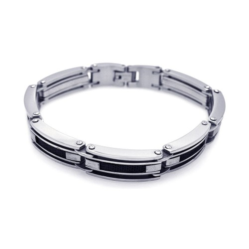 Wholesale Stainless Steel Two Toned Stacked and Beaded Bracelet - SSB00036