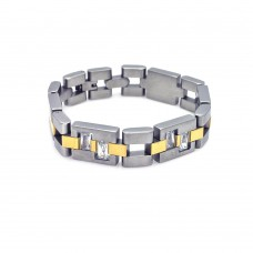 Wholesale Stainless Steel Four Tone Gold Plated CZ Bracelet - SSB00137