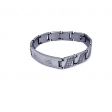 Wholesale Stainless Steel Dotted Stripe Celtic Design ID Bracelet - SSB00153