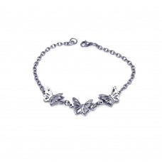 Wholesale Stainless Steel Three Butterfly Bracelet - SSB00164