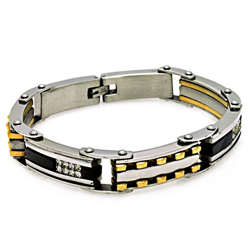 Wholesale Stainless Steel Black and Gold CZ Bracelet - SSB00171