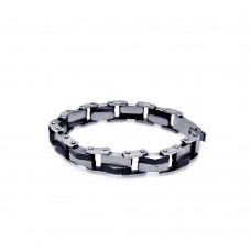 Wholesale Stainless Steel Two Tone Black Link Bracelet - SSB00172
