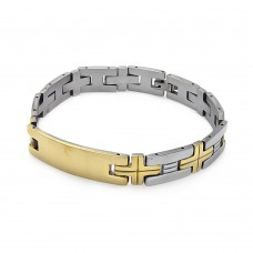 Wholesale Stainless Steel Gold Plated Cross Link ID Bracelet - SSB00223