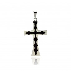 Stainless Steel Black Rhodium Plated Center Two Tone Cross Charm Pendant ssp00166