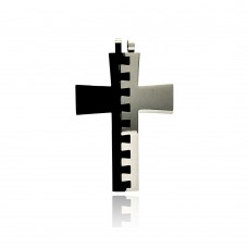 Stainless Steel Black Rhodium Plated Two Tone Puzzle Cross Charm Pendant ssp00181