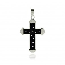 Stainless Steel Black Rhodium Plated Two Tone Multi Star Cross Clear Crystal Charm Pendant ssp00190