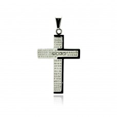 Stainless Steel Black Rhodium Plated Two Tone Prayer Cross Clear Crystal Charm Pendant ssp00196