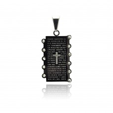 Stainless Steel Black Rhodium Plated Cross Prayer Dog Tag Charm Pendant ssp00199