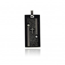 Stainless Steel Black Rhodium Plated Prayer Clear Crystal Dog Tag Charm Pendant ssp00211