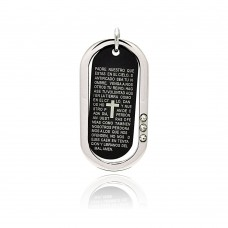 Stainless Steel Black Rhodium Plated Two Tone Prayer Dog Tag Clear Crystal Charm Pendant ssp00212
