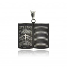 Stainless Steel Black Rhodium Plated Prayer Book Charm Pendant ssp00214