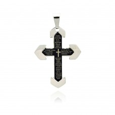 Stainless Steel Black Rhodium Plated Two Tone Cross Prayer Charm Pendant ssp00219.