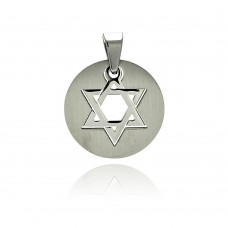 Wholesale Stainless Steel Star of David Disc Charm Pendant - SSP00227