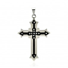 Stainless Steel Black Rhodium Plated Two Tone Cross Clear Crystal Charm Pendant ssp00243