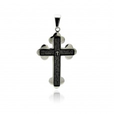Stainless Steel Black Rhodium Plated Two Tone Cross Prayer Charm Pendant ssp00245