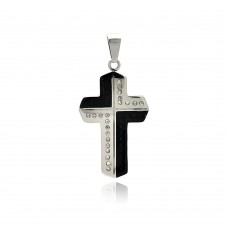 Stainless Steel Black Rhodium Plated Two Tone Cross Clear Crystal Charm Pendant ssp00255