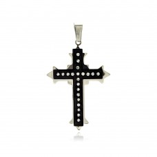 Stainless Steel Black Rhodium Plated Two Tone Cross Clear Crystal Charm Pendant ssp00258