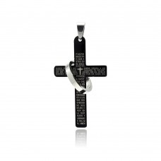 Stainless Steel Black Rhodium Plated Two Tone Cross Prayer Ring Charm Pendant ssp00262