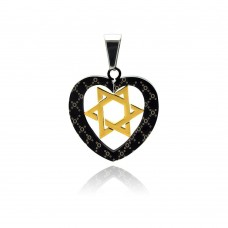 Stainless Steel Black Rhodium & Gold Plated Two Tone Heart Star of David Charm Pendant ssp00263