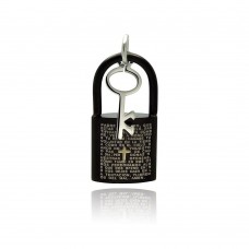 Stainless Steel Black Rhodium Plated Two Tone Lock Key Charm Pendant ssp00264