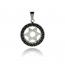 Stainless Steel Black Rhodium Plated Two Tone Open Circle Star of David Charm Pendant ssp00265