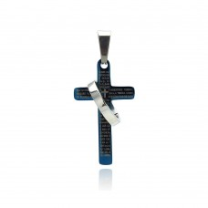 Stainless Steel Blue Plated Two Tone Cross Ring Charm Pendant ssp00266