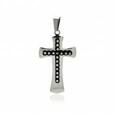 Stainless Steel Black Rhodium Plated Cross Clear Crystal Charm Pendant ssp00269