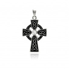 Stainless Steel Black Rhodium Plated Cross Clear Crystal Center Charm Pendant ssp00276
