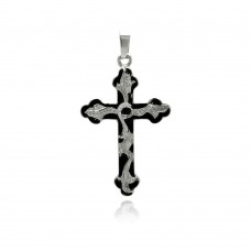 Stainless Steel Black Rhodium Plated Two Tone Leaf Design Cross Charm Pendant ssp00283