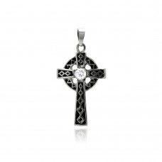 Stainless Steel Black Rhodium Plated Cross Clear Crystal Center Charm Pendant ssp00286
