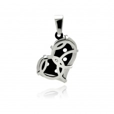Stainless Steel Black Rhodium Plated Two Tone Heart Charm Pendant ssp00289