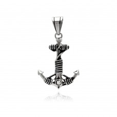 Stainless Steel Anchor Single Clear Crystal Charm Pendant ssp00297