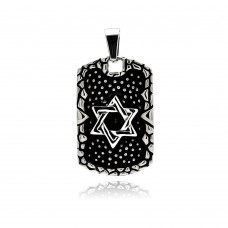 Wholesale Stainless Steel Two Tone Rock Texture Star of David Dog Tag Charm Pendant - SSP00298