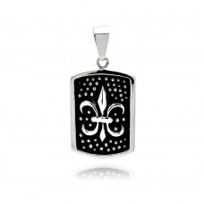 Wholesale Stainless Steel Two Tone Dotted Fleur De Lis Dog Tag Charm Pendant - SSP00299