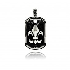 Wholesale Stainless Steel Two Tone Rock Texture Fleur De Lis Dog Tag Charm Pendant - SSP00300