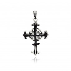 Stainless Steel Black Rhodium Plated Two Tone Double Cross Charm Pendant ssp00307