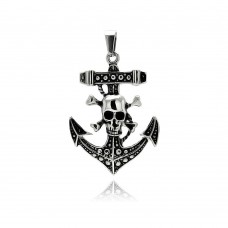 Wholesale Stainless Steel Skull Anchor Charm Pendant - SSP00318