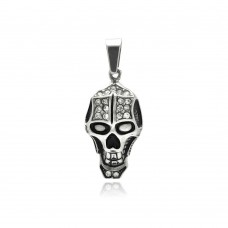 Wholesale Stainless Steel Skull Head Clear Crystal Charm Pendant - SSP00319